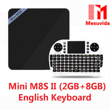 Mesuvida Mini M8S II Smart TV Box Set-top Box 4 K Amlogic S905X Quad Core Android 6.0 2.4 GHz WiFi 1/2 GB RAM 8 GB Medios jugador