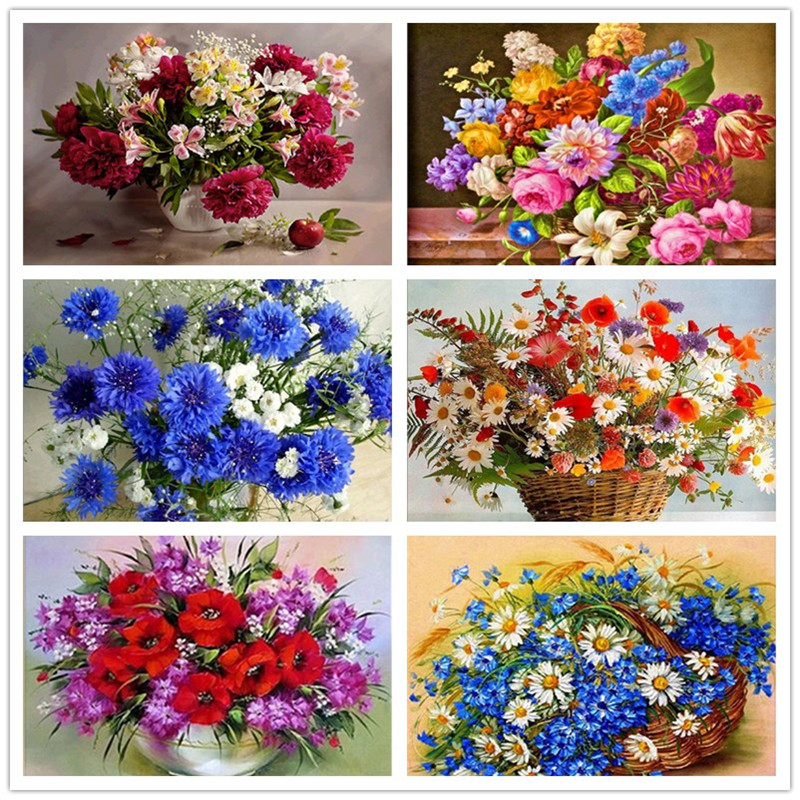 5D DIY diamond painting flower vase cross stitch diamond embroidery flower mosaic diamond home decoration(China)