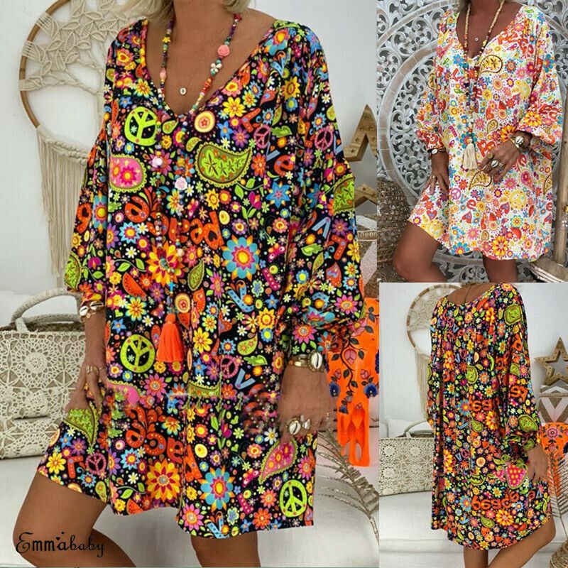 2019 Women Summer Boho Style Floral Print V Neck Beach Dress Tunic Sundress Loose Mini Party Dress Vestidos Plus Size 3XL