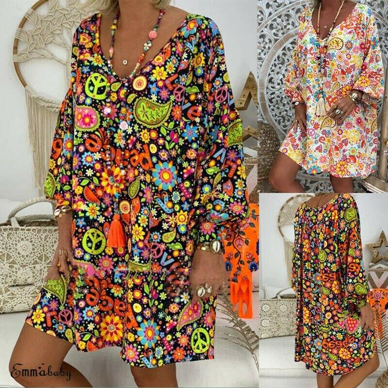 2019 femmes été Boho Style imprimé Floral col en V robe de plage tunique robe d'été lâche Mini robe de soirée Vestidos grande taille 3XL