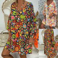 2019 mujeres verano Estilo bohemio estampado Floral cuello pico playa vestido túnica vestido suelto Mini vestido de fiesta Vestidos de talla grande 3XL
