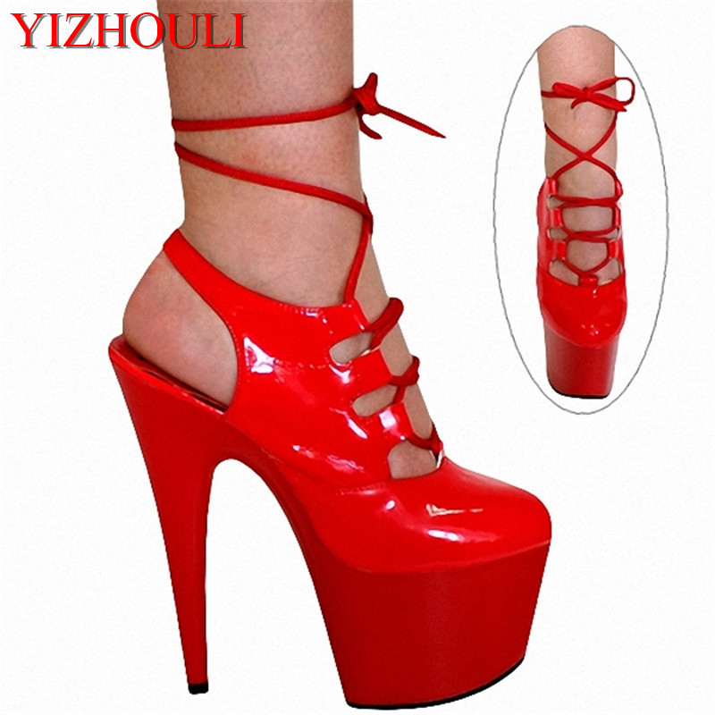 17cm Sexy party shoes sandals agent to sell goods on a commission basis, the model T runway show shoes sexy red star Dance Shoes
