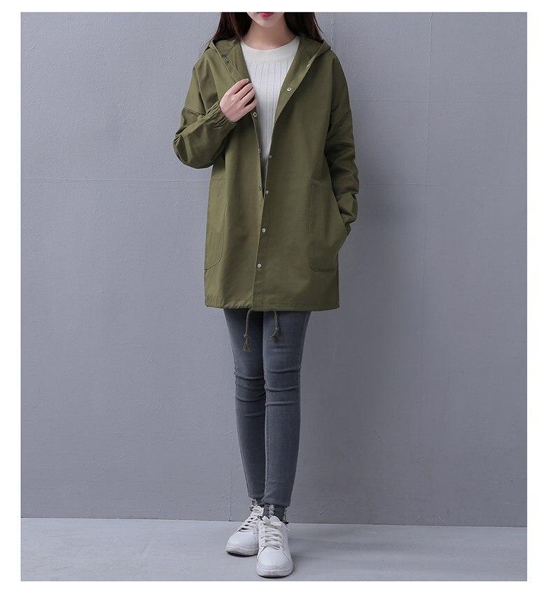 Autumn Women Casual Long Jacket Drawstring Sleeves Bomber Coat Elegant Pocket Hooded Windbreaker Feminina