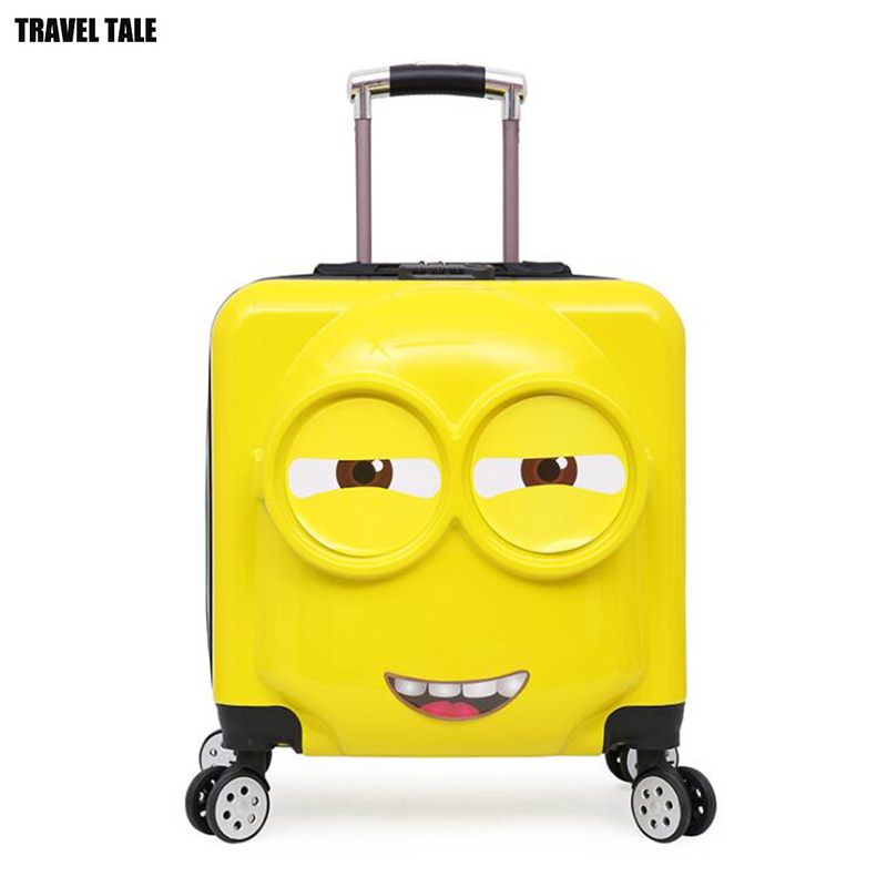TRAVEL TALE Minions panda kids carry on suitcase spinner travel trolley bag for traveling