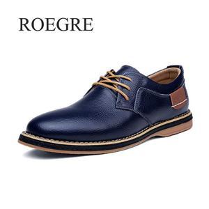 Image 2 - 2019 جديد الرجال أكسفورد جلد طبيعي فستان أحذية البروغ الدانتيل يصل حذاء كاجوال الذكور الأحذية المتسكعون الرجال حجم كبير 39 45