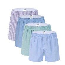New 3 pack Classic Plaid Mens Boxers Homme Arrow Panties Boxer Elastic Waistband 100% Cotton Mens Underwear Trunks Woven