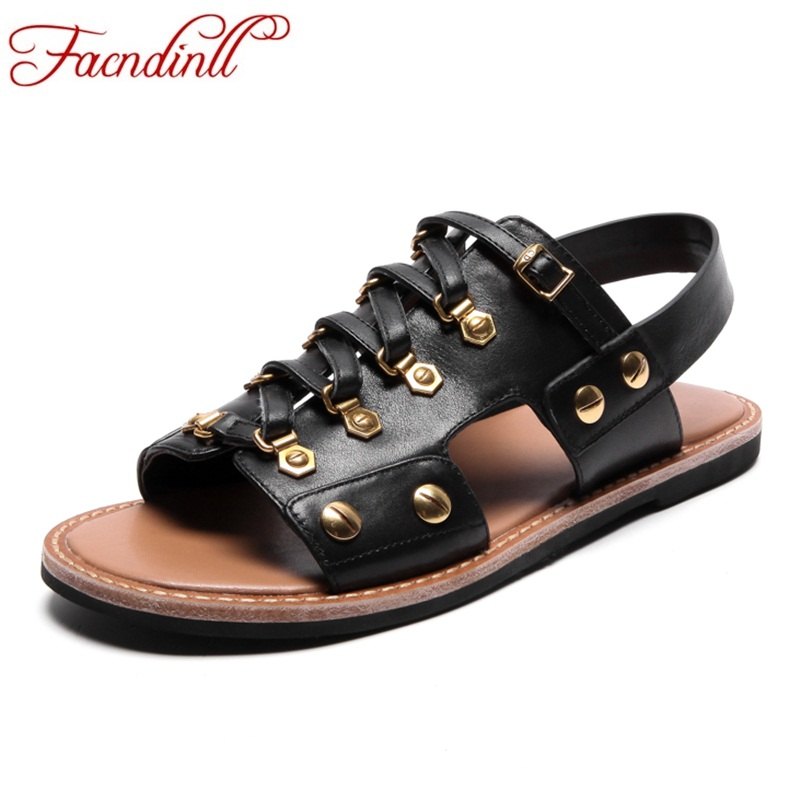 FACNDINLL new women sandals genuine leather flat with punk style rivets gladiator summer sandals black shoes woman casual sheos facndinll genuine leather sandals for