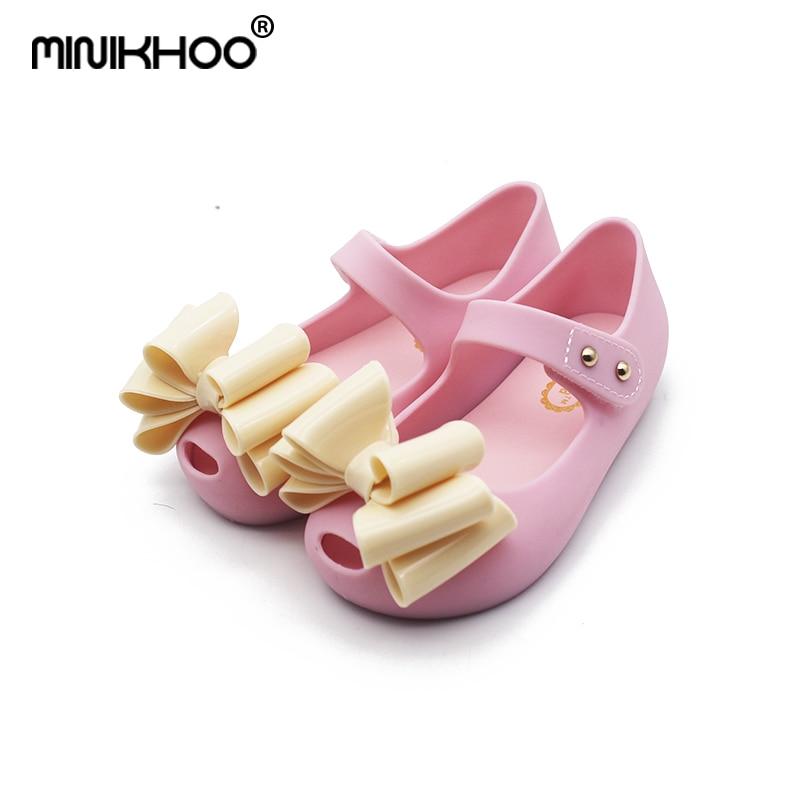 Mini Melissa 2018 Girls Jelly Shoes Girls Sandals Large Bow Plastic Child Sandals Melissa Beach Sandals Wear-Resistant 15cm-18cm