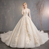 Robe De Mariee Champagne O Neck Full Sleeve Colorful Wedding Dress Beautiful Lace Embroidery Plus Size Long Train Wedding Gown L