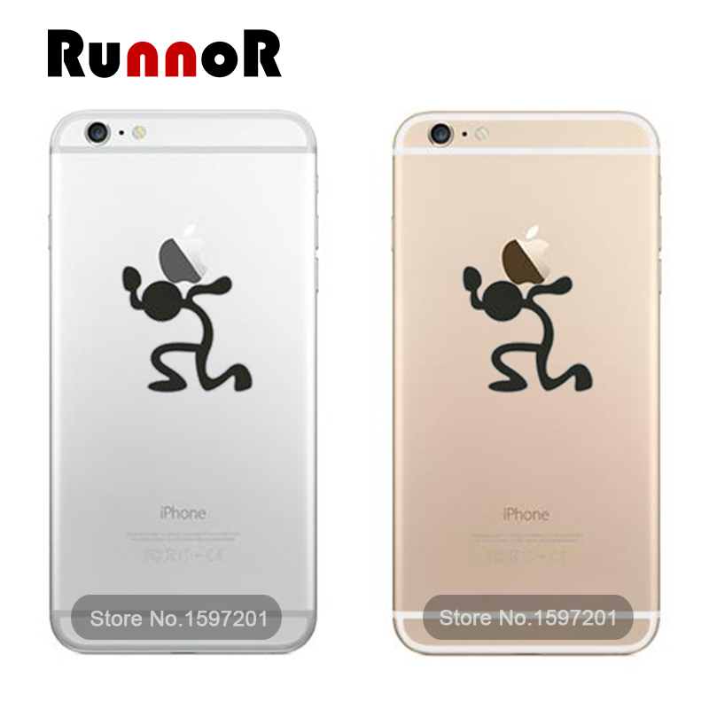 Bearing stick man mobile phone decal sticker for iphone 6 6 plus 5s 5c 5 4s adesivo pegatina para cellphone sticker in laptop skins from computer