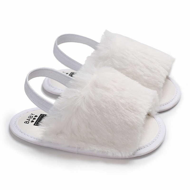 7336d09d5 Fashion Cute Toddler Kids Baby Girl Summer Faux Fur Pompom Anti-slip Flip- flops
