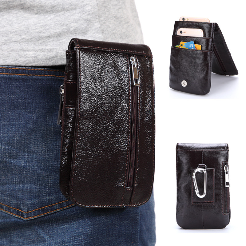 High-quality Genuine Leather Waist Packs Fanny Pack Men Cigarette Purse Male Military Waist Belt Bag Casual Mobile Phone Bags