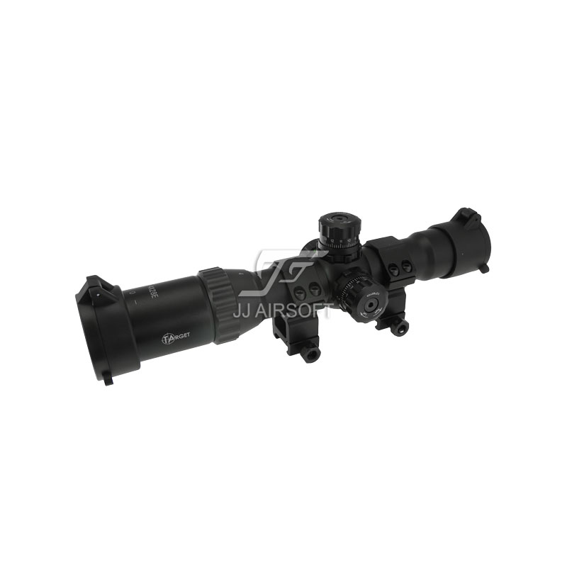 TARGET 1-4x28 E Red/Green/Blue Reticle Long Eye Relief Illumination Rifle Scope (Black) Completely Sealed and Nitrogen Filled