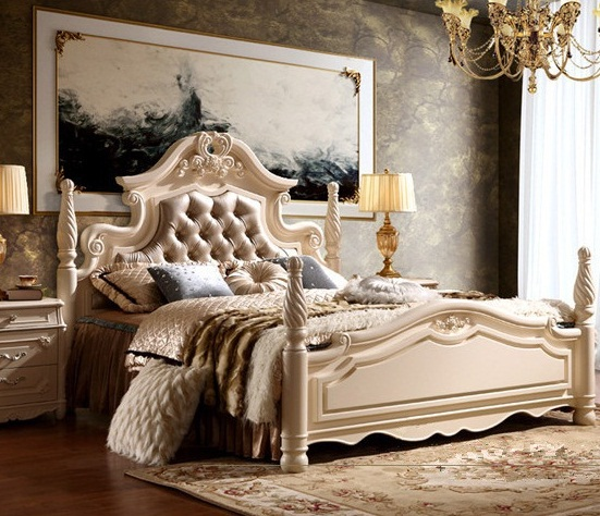 european style solid wood leather home bed hand carved bedroom furniture sets queenking - Hand Carved Bedroom Furniture
