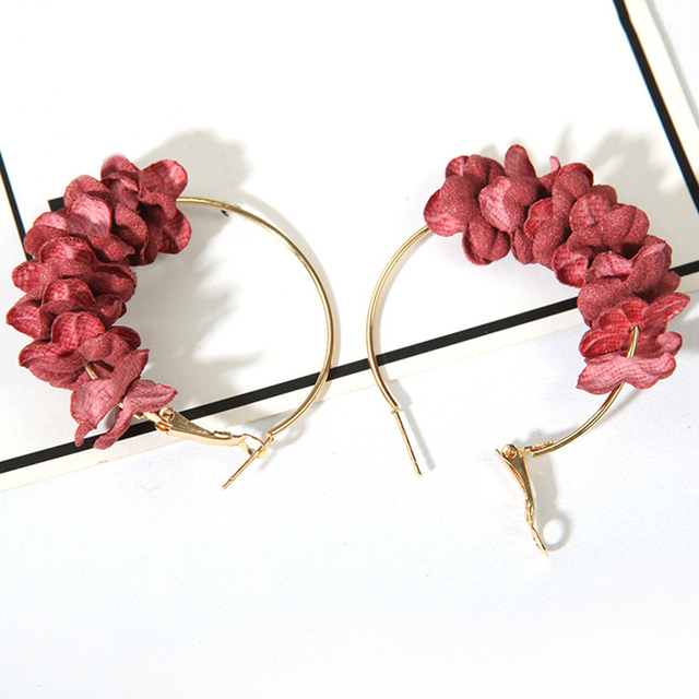 Купить разноцветные корейские тканевые серьги подвески в виде цветка картинки