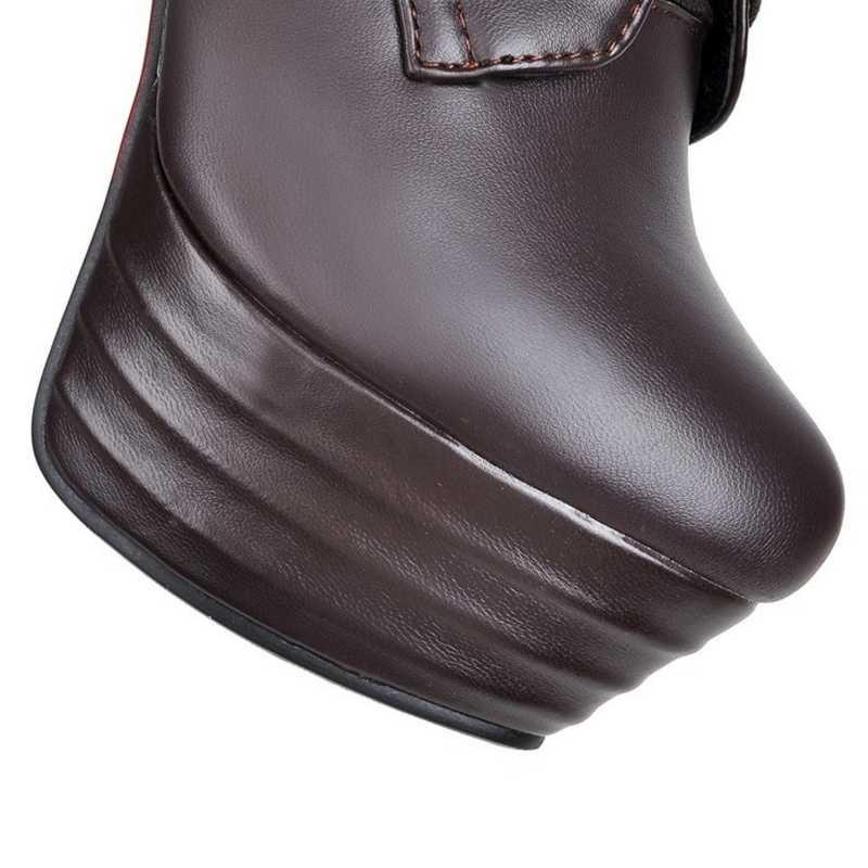 Doratasia גדול גודל 34-45 בגובה הברך נשים מגפי אופנוע מגפי דק גבוהה עקבים סקסי פלטפורמת נשים נעליים אישה חורף מגפיים