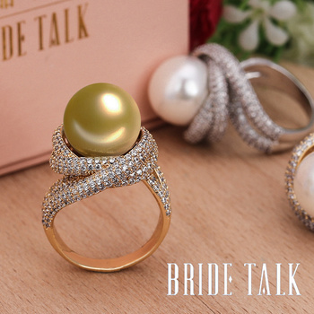 Bride Talk Fashion Brand Women Pearl Ring Cubic Zirconia Twisted Lines Luxury Finger Rings Elegant Jewelry For Wedding Party