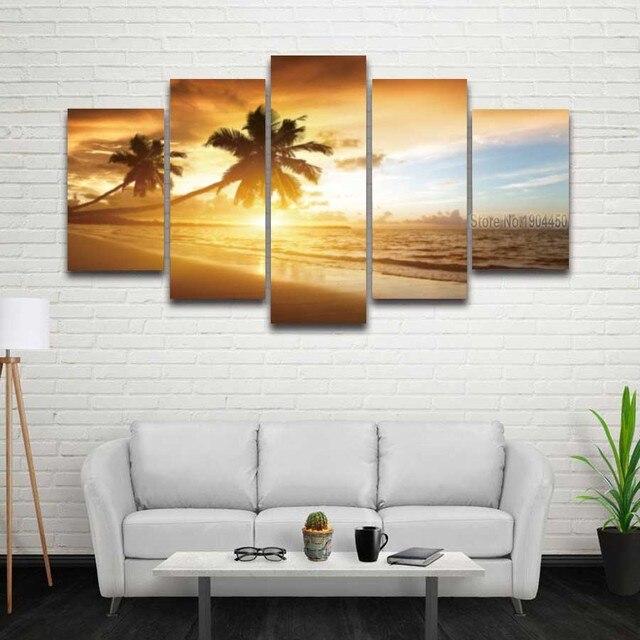 Gedruckt Palme Sonnenuntergang Seascape Bild Meer Strand Leinwand ...