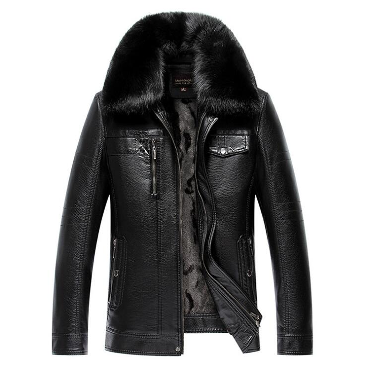 Mens PU Winter Lapel Jackets Coats Motorcycle Leather Jackets Men Detachable fur collar Leather Clothing Male Casual Outerwear