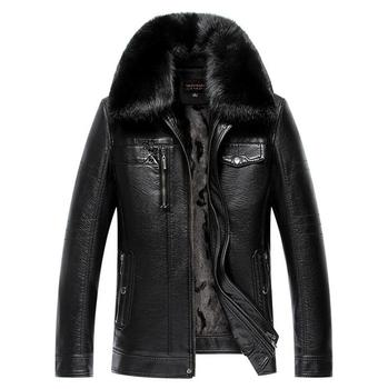 Men's PU Winter Lapel Jackets Coats Motorcycle Leather Jackets Men Detachable fur collar Leather Clothing Male Casual Outerwear