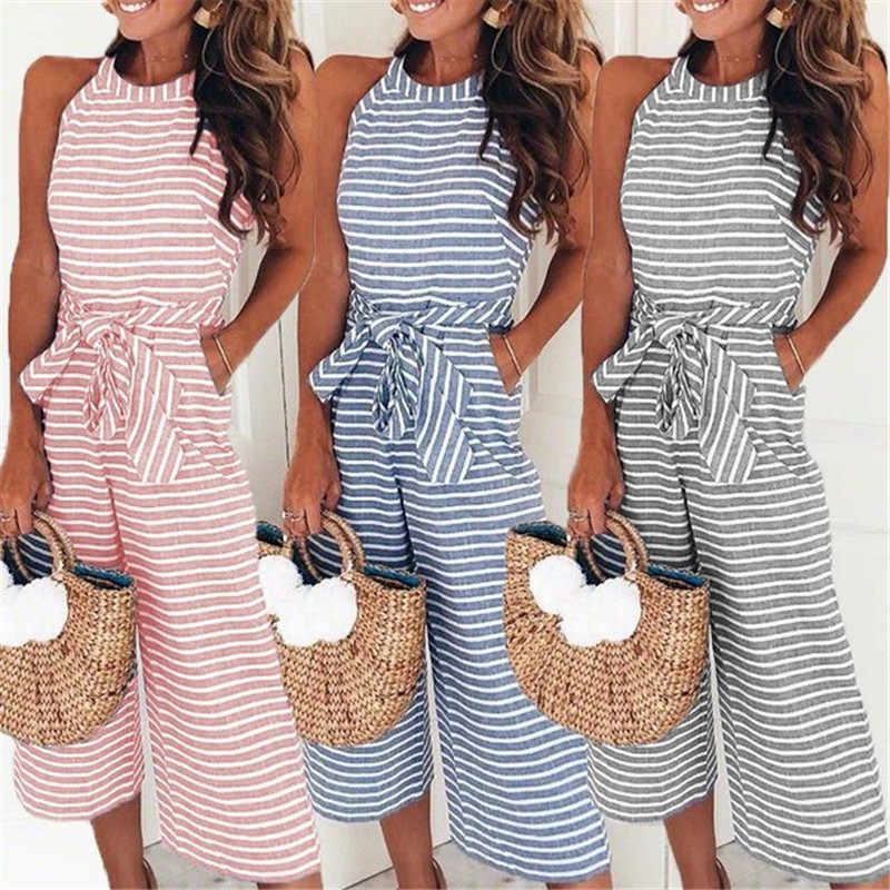 Feitong Women Summer O-neck Bowknot Pants Playsuit Sashes Pockets Sleeveless Rompers Overalls Sexy Office Macacao Feminino 2018