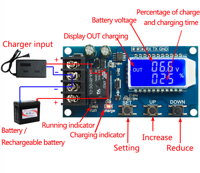 12V 24V Lead Acid Battery Low Voltage Cut Off Switch Controller Protection Board