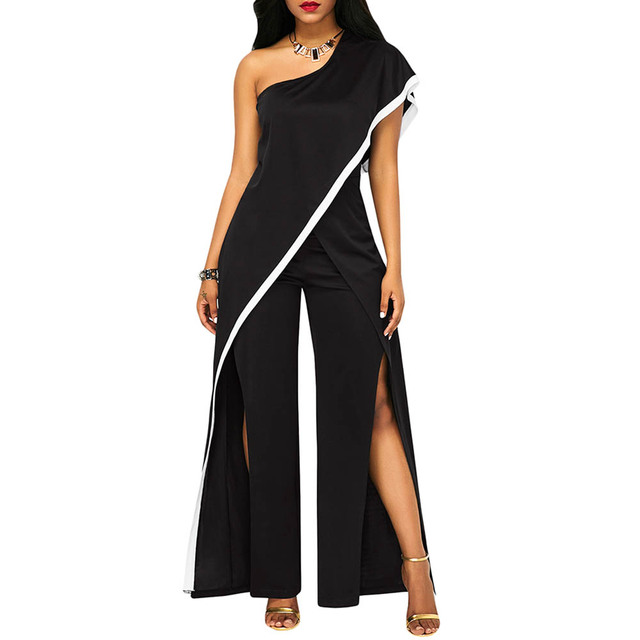 8e06c81fe7f One Shoulder Wide Leg Jumpsuits black Women Sexy Split High Waist Party  Rompers Elegant Jumpsuit Ladies Long Playsuits Overalls