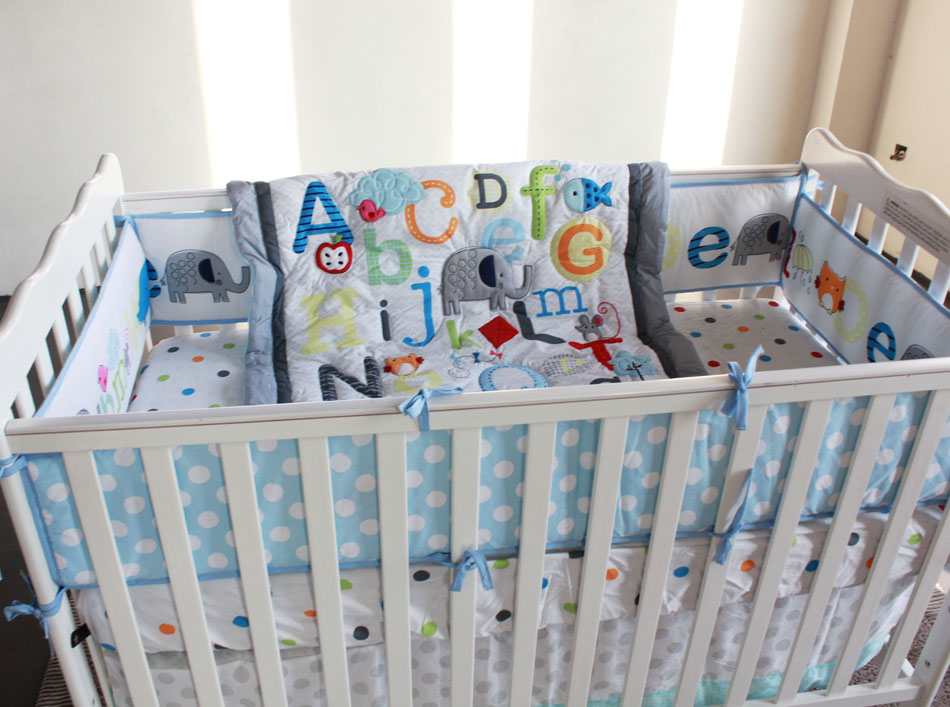 7pcs Baby Bedding Set English Alphabet Per Crib Include Duvet Bed Cover Skirt In Sets From Mother Kids On