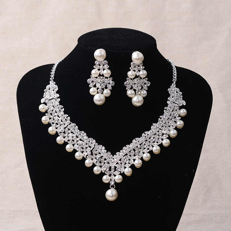 Fashion Pearl Wedding Bridal Jewelry Sets For Bride Women Pageant Prom Bijoux Necklace Earrings Wedding Jewelry Accessories