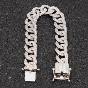 Image 5 - Hip hop aaa zircão pavimentado bling iced para fora cz pulseiras cor de prata preto cubano miami link corrente charme jóias transporte da gota