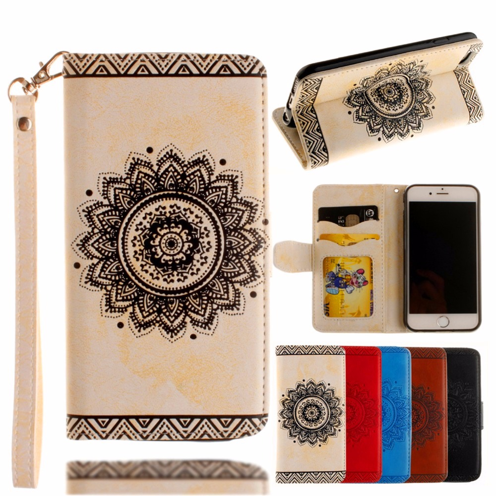 Embossed Mandala pattern For <font><b>iPhone</b></font> 8 7 6 6s 5 <font><b>5s</b></font> SE Plus <font><b>Genuine</b></font> <font><b>Leather</b></font> Luxury Trend fashion Flip Wallet phones Cover <font><b>Case</b></font> image