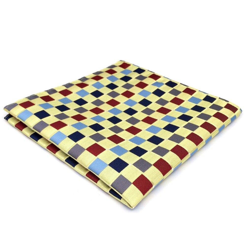 DH32 Yellow Checkes Silk Mens Pocket Square Wedding Fashion Handkerchief Hanky
