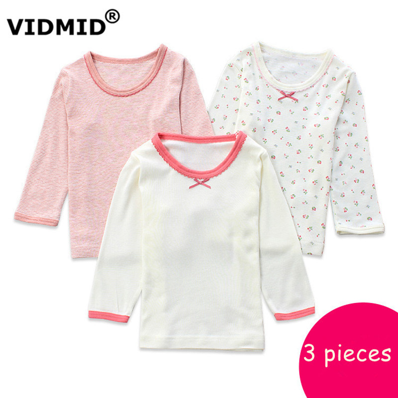VIDMID Autumn Top Quality Girls t-shirts Long Sleeve t shirt children Kids t Shirts for girl underwear Top Children 4003 05 new summer style fashion women slippers flip flops wedges platform sandals hot selling high heel bowtie sweet sexy ladies shoes