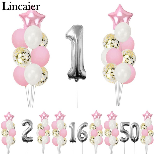 Lincaier Silver Pink Happy Birthday Number Balloons 1st 2 3 4 5 6 7 8 9 10 16 18 21st 30 40 50 Party Decorations Kids Girl Adult