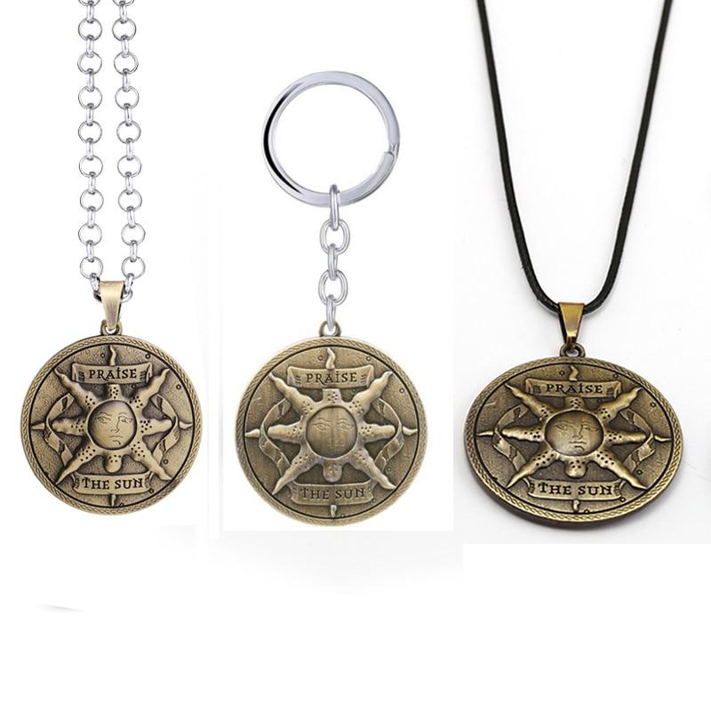 Hot Sale Dark Souls 3 Figure Keychain Sun Sollar Badge Necklaces Knight Logo Pendants Keyring For Women Men Car Bag Jewelry