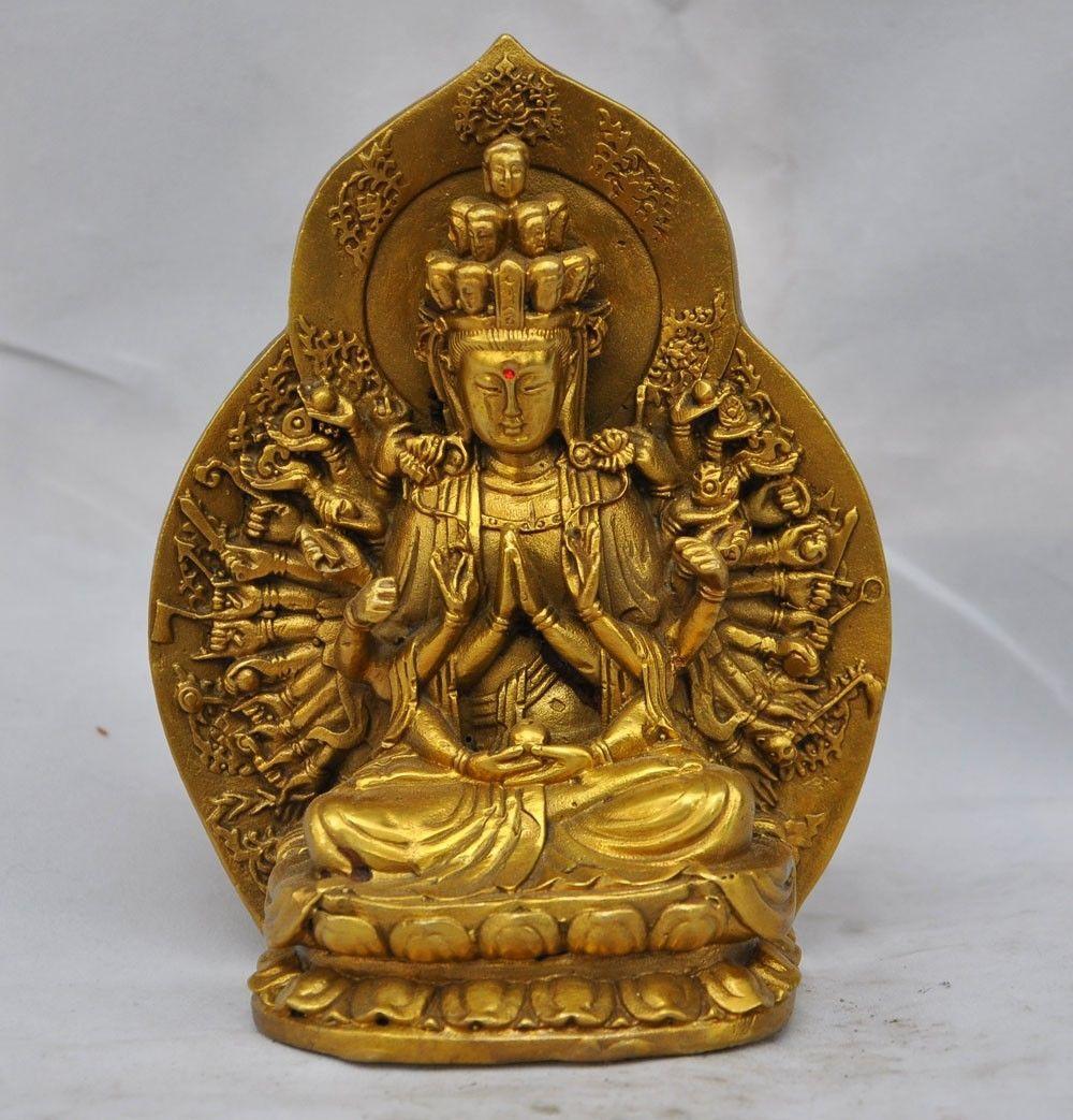 56@g++Chinese Buddhism fane brass 1000 Hand Arm Kwan Yin GuanYin Bodhisattva statue