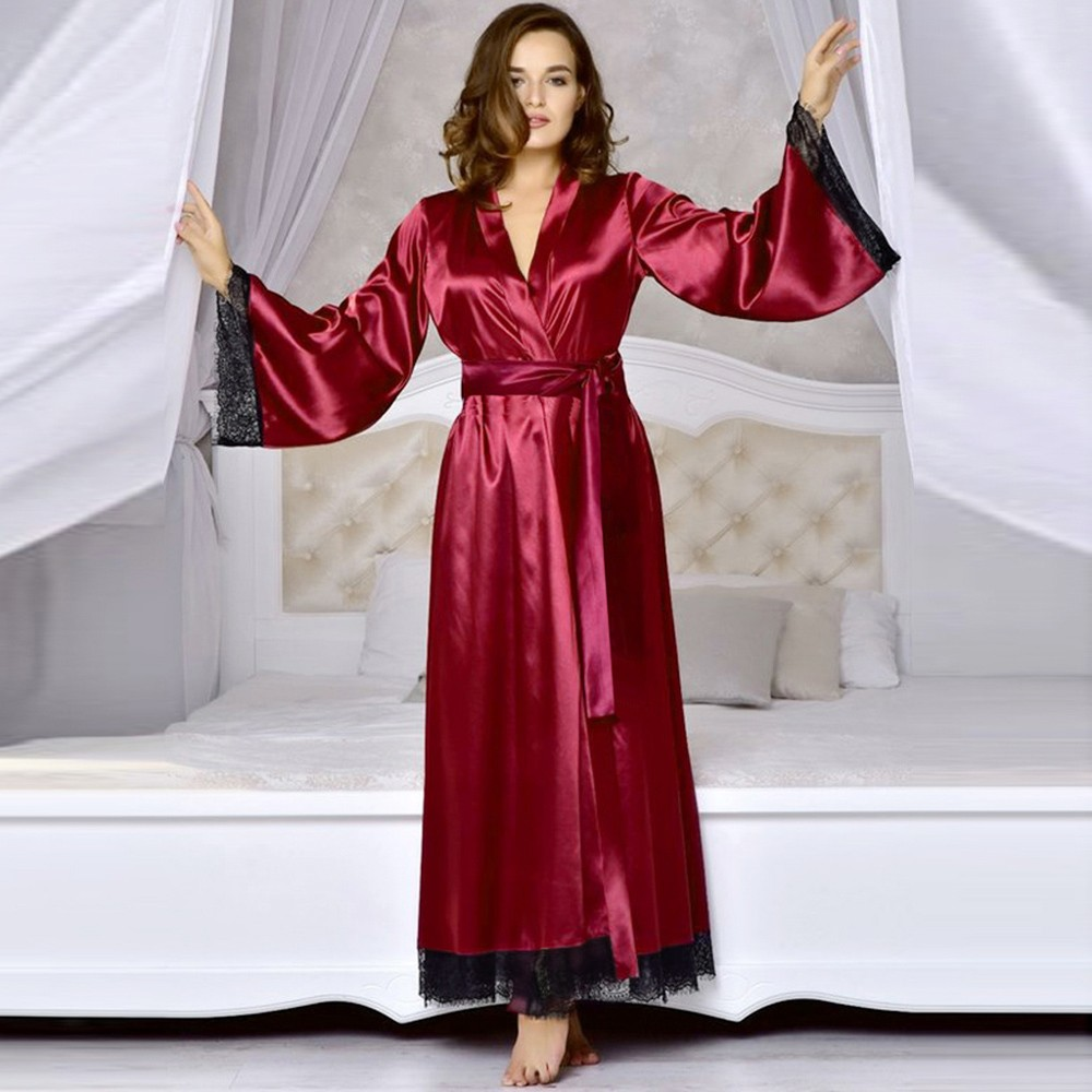 Women's Sexy Silk Satin Kimono Robe Bathrobe Baby Dress Underwear Nightdress Lace Stitching Long Bathrobe Robe Home Service #30(China)
