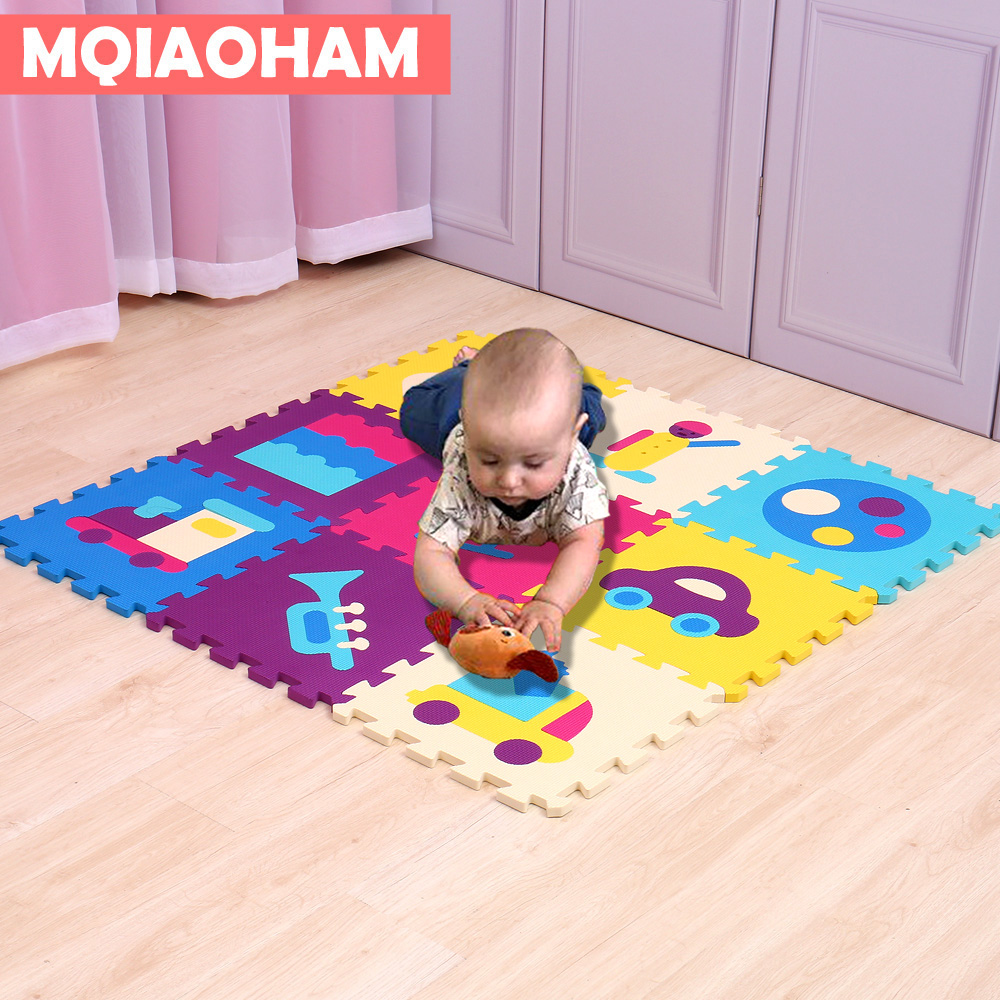 MQIAOHAM 9 PCS Pack Cartoon EVA Puzzle Mat Baby Foam Play Mat Non-slip Baby Floor Mat Jigsaw Puzzle Mats Playroom Bedroom Rugs ...