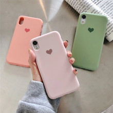 Sliod Color Love Heart Print Phone Case For iphone XS Max XR X 8 7 6 6S plus Cover Fashion Plain Soft Cases Capa