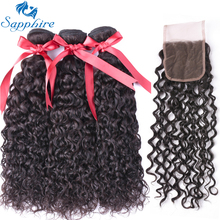 Sapphire Human Hair Weave 3 Bundles With Lace Closure Malaysian Water Wave Human Hair Extension Remy Salon Hair Natural Color