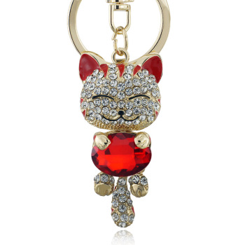 Lucky Smile Cat Crystal Rhinestone Keyrings Key Chains Holder Purse Bag For Car christmas Gift Keychains Jewelry llaveros K218