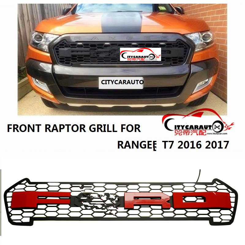 CITYCARAUTO Top quality 4 Led front Racing grill grille black front grill trim for Ranger wildtrak T7 txl pickup CAR 2015-17 fits for 2011 2016 zotye t600 black radiator grille painted parts racing front grill grille 1pc