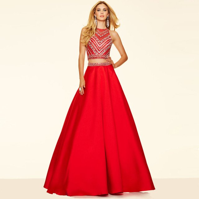 7c495535d3 New Red Crystal Beaded Two Piece Prom Dress High Neck Long A Line Blue  Green Women Formal Party Dresses High Quality