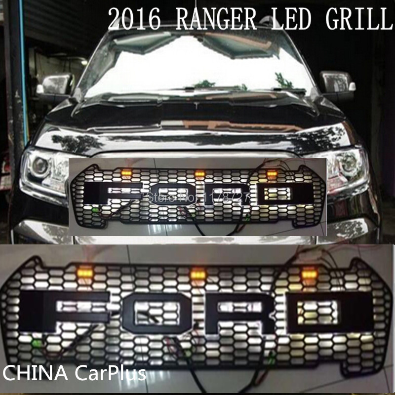 FREE SHIPING 2016 RANGER GRILL LED LETTER FRONT GRILL SURROUNDS TRIM FOR RANGER WILDTRAK 2016 T7 PICK UP RANGER GRILL WITH LED