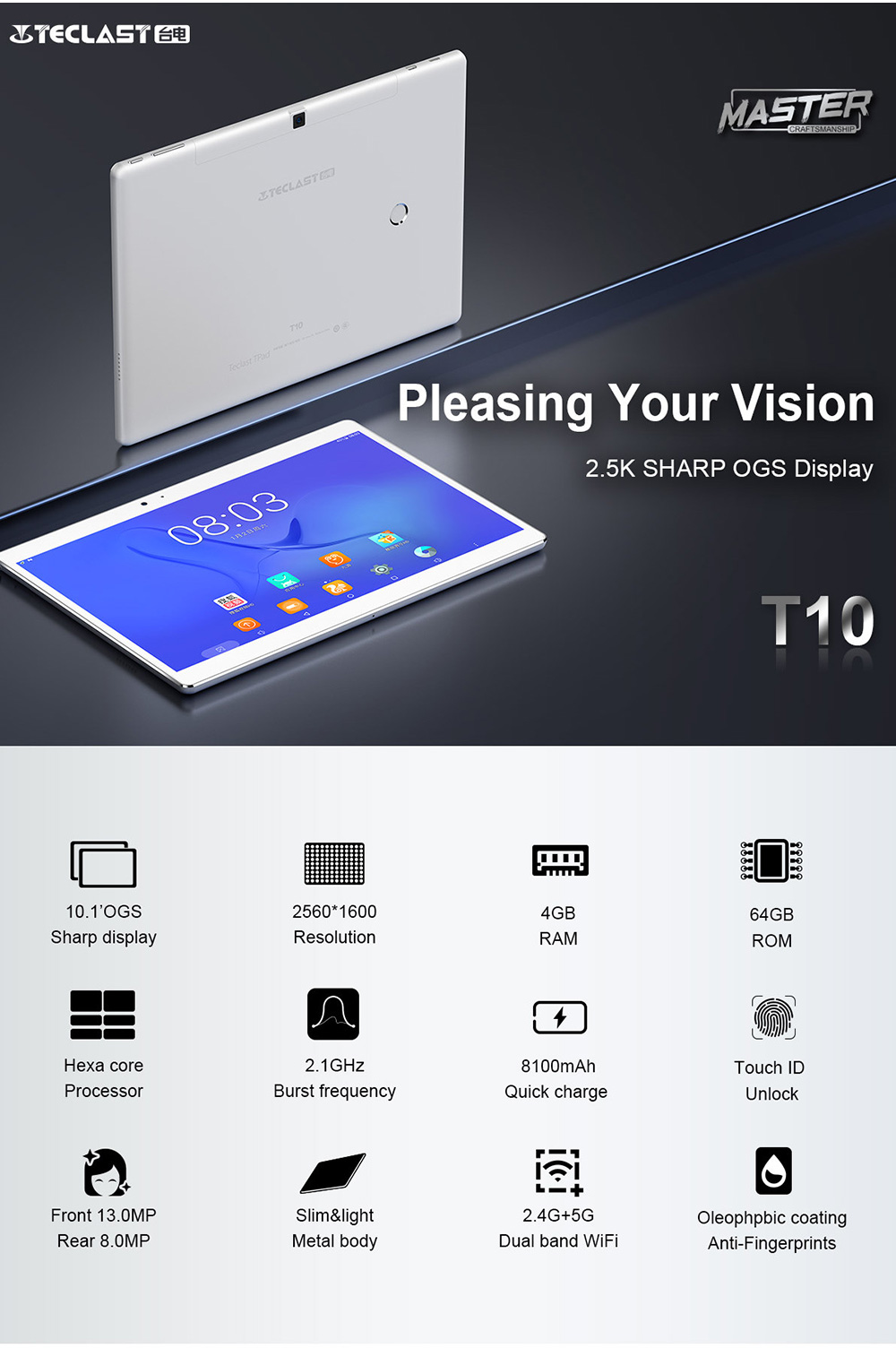 US $290 49 |Teclast Master T10 tablets Android 7 0 tablet pc MT8176 Hexa  Core 4GB RAM 64GB ROM 8 0MP+13 0 MP Tablet PC HDMI android tablet-in  Tablets