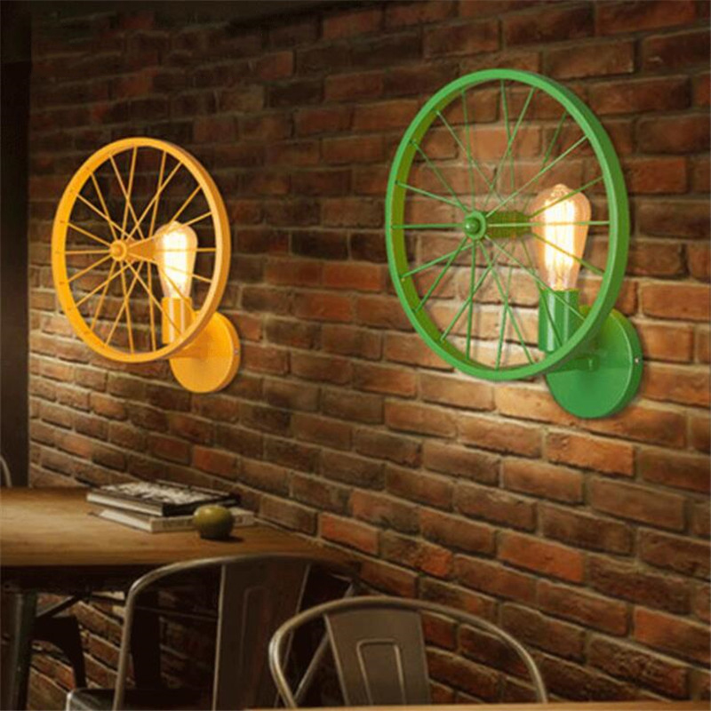Loft Retro Bar Wall Lamp Creative Personality Restaurant American Village Iron Cafe Industry Wind Wheel Lamp Free Shipping free shipping american retro nostalgia aisle wall bar lamp loft single head lamp of creative industry