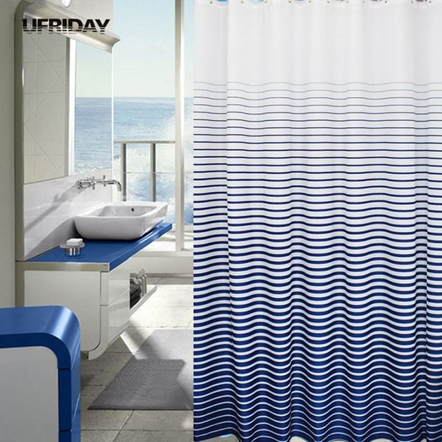Ufriday Grant Blue Striped Shower Curtain Moldproof Waterproof Thickened Curtains Bath With 12pcs Hooks