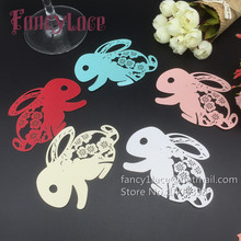60PCS Laser Cut Cute Rabbit Design Wine Glasses Card Place card Gift Baby Shower Easter Party Decoration diy Book Mark