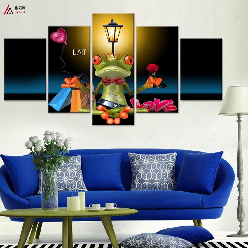 5 kusů plátna umění HD tisk na plátně olejomalba moderní dekorativní nástěnná malba abstraktní zvířata kreslený žáby modulární obraz
