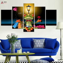 5 piece canvas art HD Canvas Printing Oil Painting Modern Decorative Wall Painting Abstract Animals Cartoon Frogs Modular pictur